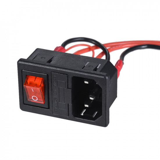 3D Printer U-type Plug Power Supply Switch Sockets Adapter with Fuse and Switch